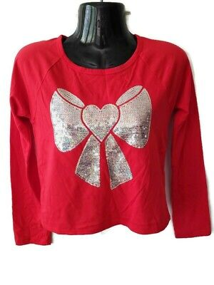 Girls Red Top With Sequin  Embellished  Bow Longsleeve top Sz L 14
