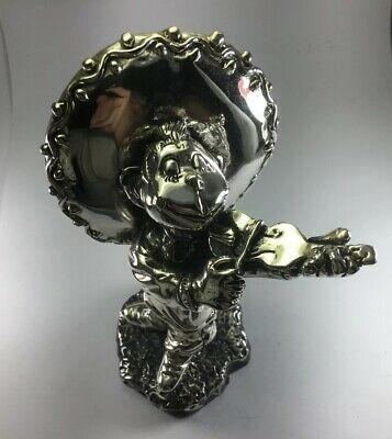New Old Stock ZANFELD 999 Sterling Silver Monkey Violinist Player Sculpture
