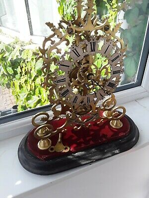 Antique English Victorian Fusee Skeleton Clock 13inches