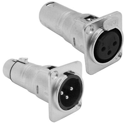 XLR Female to Male & XLR Male to Female Pass Through Feed Panel Mount Adapters