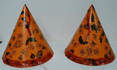 Two 1950's HALLOWEEN HATS: WITCH, SKULL, JOL, BLACK CAT BATS New Old Stock NOS