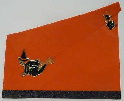 1950's Crepe Paper HALLOWEEN HAT Witch on a Broom & Black Cat New Old Stock NOS