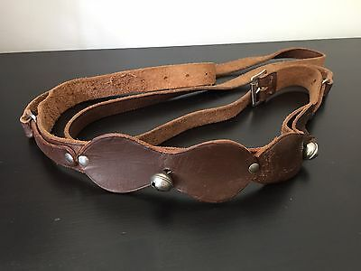 Child's Antique Leather Harness With Bells Toddler Walking Safety Reins Antique