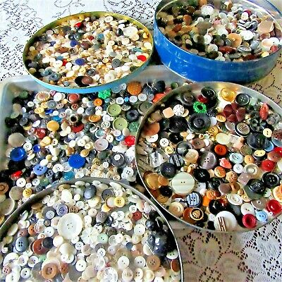 HUGE Vtg Antique button LOT China Glass Mother of Pearl Celluloid Plastic 4 LBS