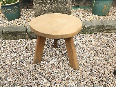 Vintage Wooden Milking Stool Heavy Chunky Solid Wood Wanderwood Plant Table