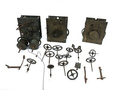 3 x Antique Longcase 8 Day Grandfather Clock Movements SPARES PARTS Centre Sweep