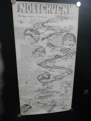 1979 William Nealy Nolichucky River Whitewater Paddling Cartoon Map 1st Vintage