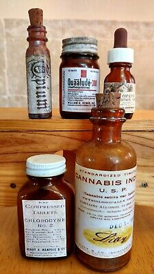 Old VTG.Medicine Bottle Hand Crafted,Opium,Quaalude,Cannabis,Chlorodyne,Cocaine