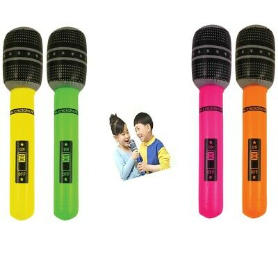 Pack of 4 Inflatable Microphone Neon Musical Instrument Fancy Dress Party Acesso