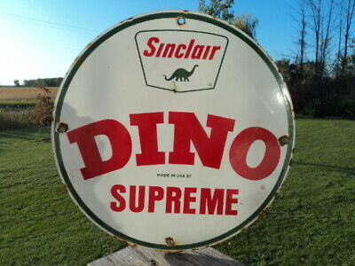 "Old 1957 Sinclair Dino Gasoline Porcelain Gas Pump Sign (Super Nice) ""Supreme"""