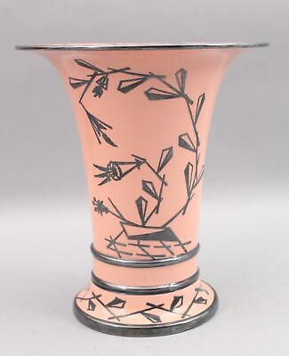 1930s Antique American Lenox Art Deco Silver Overlay Salmon Pink Porcelain Vase