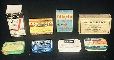 8 Vintage New Old Stock Medicine Tins, Box & Contents Laxative Mandrake Axar Etc