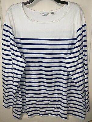 Liz Claiborne New York blue and white striped long sleeve knit top Size 3X SOFT