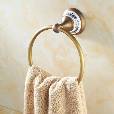 Antique Brass Towel Ring Round Wall Mounted Towel Rack