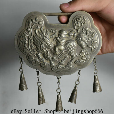 13cm Old Chinese Silver Dynasty Feng Shui Kylin Tongzi Boy Lucky Pendant Amulet