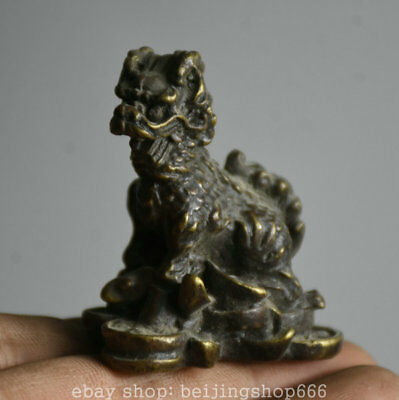 5CM Old Chinese Bronze Dragon Qilin Beast Yuanbao Wealth Lucky Statue
