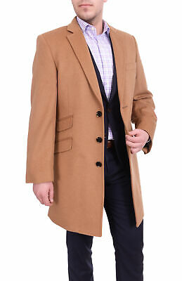 Regular Fit Solid Camel Tan Wool Cashmere Blend 3/4 Topcoat With Ticket Pocke...