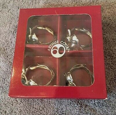 ARTHUR COURT 1995 Bunny Rabbit Set of 4 Napkin Rings New in Box Silver Aluminum