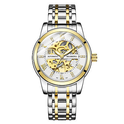 Mens Watch Luxury Mechanical Stainless Steel Skeleton Automatic Gold White