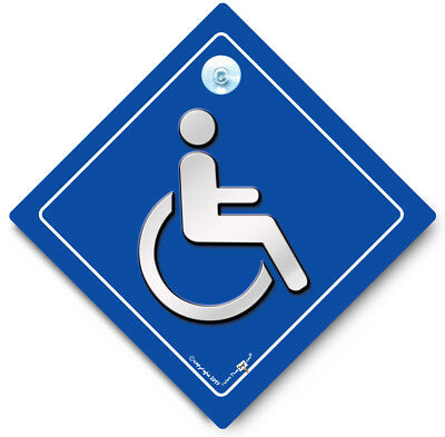 Disabled Driver Sign, Disabled Car Sign, Wheelchair Car Sign, Blue Badge Sign