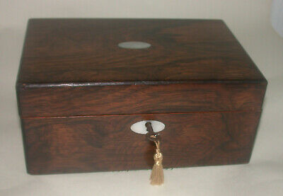 Antique Rosewood & Mother Of Pearl Sewing Box With Key