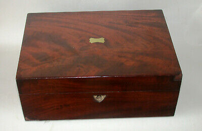 Antique Flame Mahogany Sewing Box With Key For Restoration
