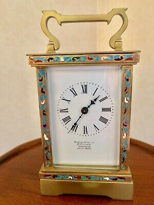 Antique Carriage Clock with Champleve Enamel Decoration.