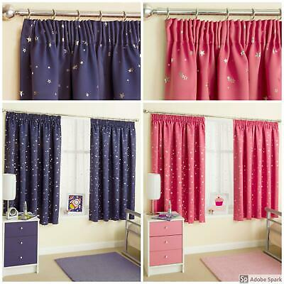 THERMAL BLOCKOUT Childrens CURTAINS PAIR Ready Made KIDS Boys, Girls Moonlight