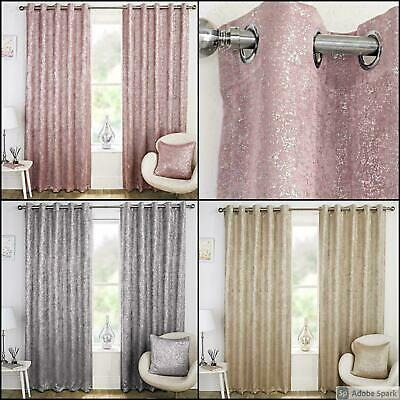 Halo SHIMMERING SPARKLY Ready Made BLOCKOUT Lined Curtains EYELET Ring Top