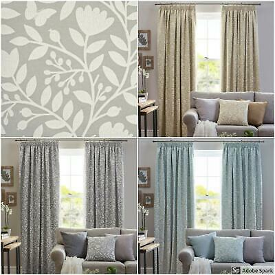 Eleanor - FLORAL Pencil Pleat Curtains Ready Made TAPE TOP 3 COLOURS - PAIR