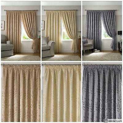Tivoli - JACQUARD LEAF PATTERN Lined Curtains Ready Made TAPE TOP
