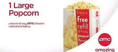 AMC Movie LARGE Popcorn Bucket Certificate Exp 6/30/20 ~ Delivered fast email