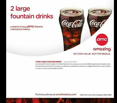 AMC Theaters (2) LARGE Drinks at the Movies!  Vouchers exp 6/30/2020