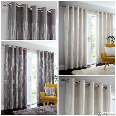 Detroit - GEOMETRIC PATTERN Ready Made FULLY LINED EYELET Ring Top Curtains