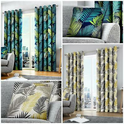 TROPICAL PATTERN Lined Curtains Ready Made EYELET Ring Top 100% COTTON
