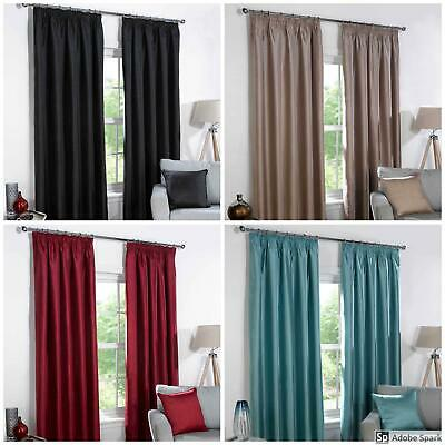 FAUX SILK Textured BLACKOUT Lined Ready Made Curtains TAPE TOP - 4 COLOURS