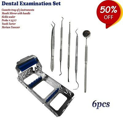 Dental Kit Tooth Scraper Mirror Handle set Calculus Remover + Cassettes