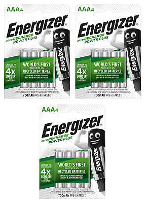 12 piles AAA ENERGIZER rechargeables Power Plus HR03 700 mAh