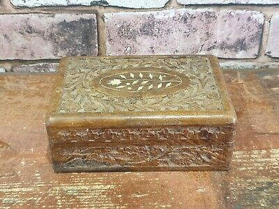 Heavily Carved Small Decorative Wooden Trinket Jewellery Box