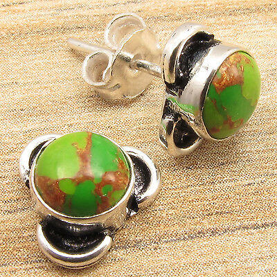 **0.99 CENTS AUCTION** 925 Silver Plated GREEN COPPER TURQUOISE Stud Earrings