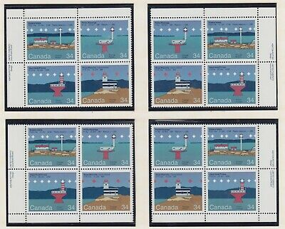 MATCHED SET PLATE BLOCKS 1063-1066MNH 34c x 16 CANADIAN LIGHTHOUSES - 2