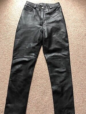 Vintage Black Leather Trousers Size 12 Real Leather