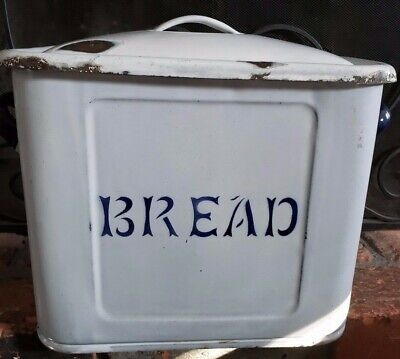 Vintage Style Enamelware Bread Box Distressed White Large Metal Retro Look