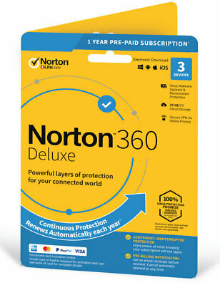 Norton 360 Deluxe 2020 3 Devices 1 Year + Secure VPN Internet Security Emailed