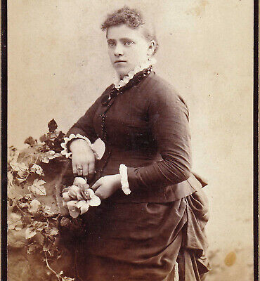 Pregnant Girl in Bustle Dress - 1880s Cabinet Photo - Jersey City Heights