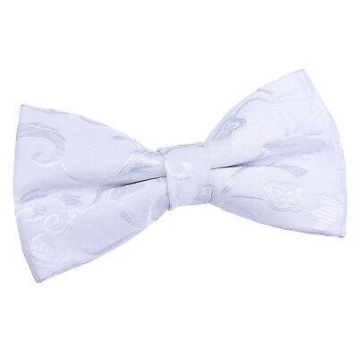 White Mens Bow Tie Woven Floral Wedding Pretied FREE Pocket Square by DQT