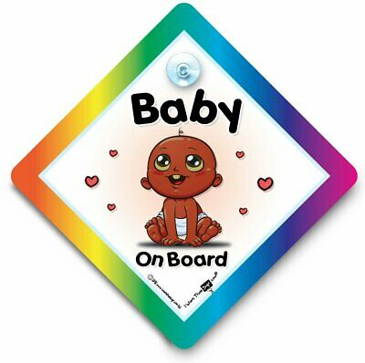 Black Baby Car Sign, Baby On Board Sign, Suction Cup Sign
