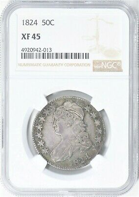 1824/4 O-110 Capped Bust Half Dollar NGC XF45 Nice Variety! #BER1019