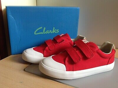 Clarks Comic Air Navy Velcro Canvas Shoes In Various Sizes