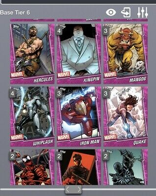 Lot of 9 Random TOPPS MARVEL COLLECT PINK TIER 6 CARD WHEEL DIGITAL CARD